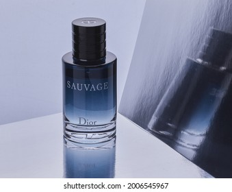 Mansfield,Nottingham,United Kingdom-9th July 2021:Studio product image of Sauvage Cologne by Fashion House Christian Dior.