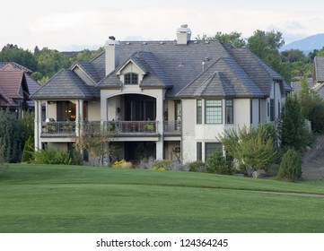 Mansion view from Backyard, on a golf course.