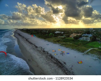 Mansions on the beach at sunset