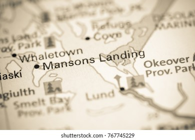 Mansons Landing. Canada on a map.