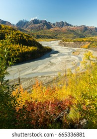 The Mantanuska River flattens and bends around in front of the Chagach Range