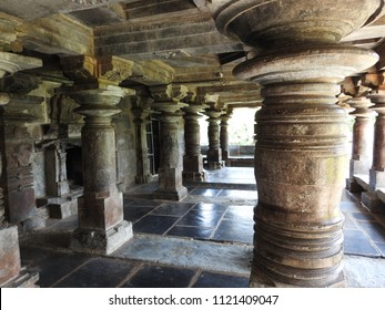 Mantapa pillars of Ishvara Temple, Arasikere, Hassan District of Karnataka state, India. The temple was built in 1220 CE rule of Hoysala Empire.