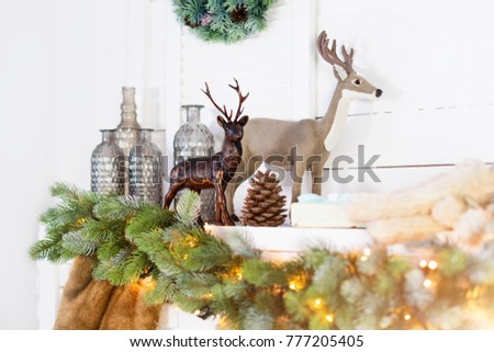 mantelpiece with christmas decorations cozy winter scene white interior details with lights