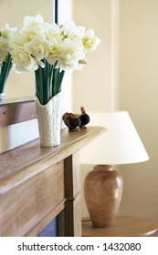 mantelpiece with narcissi