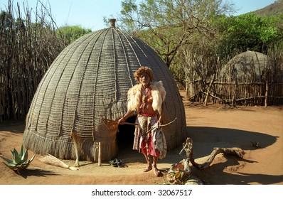 MANTENGA, SWAZILAND - JULY 15 : Sangoma, the local magician after a healing ceremony 15. July 2000. Mantenga Nature Reserve
