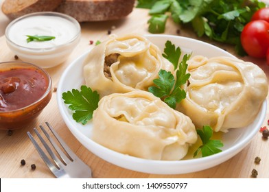 Manti or manty dumplings, popular asian dish, great image for your needs.