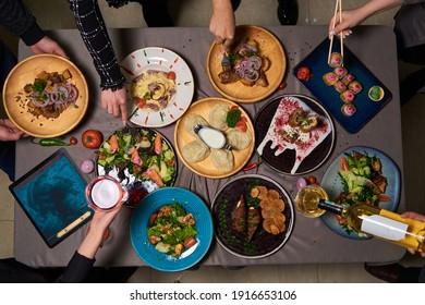 manti, pasta, sushi, salads, wine