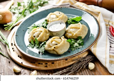 Manti. Traditional meat dish of the peoples of Central Asia