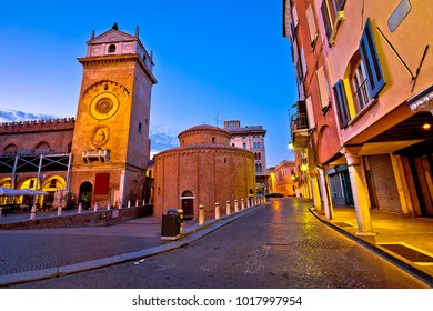 Mantova city Piazza delle Erbe evening view, European capital of culture and UNESCO world heritage site, Lombardy region of Italy