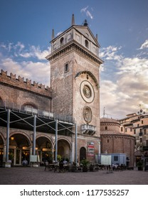 Mantova - Italy - 30 January 2018 - view of Piazza delle Erbe square and Clock tower in Mantua, Italy