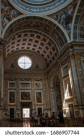 Mantova, Italy – AUG 13, 2017: Saint Andrea Church interiors, designed by Leon Battista Alberti architect, year 1471