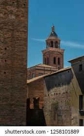 MANTOVA/ ITALY AUG 2017 - Medieval fortress, Gonzaga Saint George (Giorgio) castle in Italy, Mantua (Mantova)