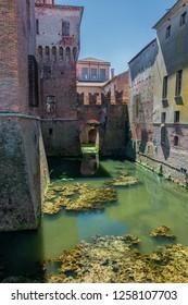 MANTOVA/ ITALY AUG 2017 - Medieval fortress, Gonzaga Saint George (Giorgio) castle in Italy, Mantua