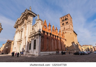 Mantova, Italy - January 4 2019: Mantua Cathedral (Cattedrale di San Pietro apostolo, Duomo di Mantova) in Mantua, Lombardy, northern Italy, is a Roman Catholic cathedral dedicated to Saint Peter.