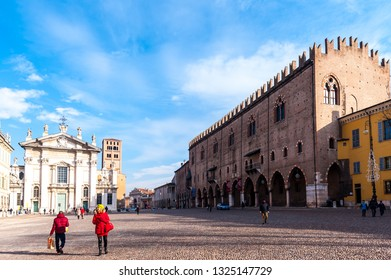 Mantova, Italy - January 5 2018 :    Historical city of Mantua. Ducal Palce. Square of herbs.