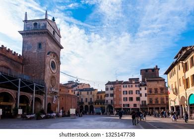 Mantova, Italy - January 5 2018 :   View of Piazza delle Erbe, Mantua, Lombardy, Italy.