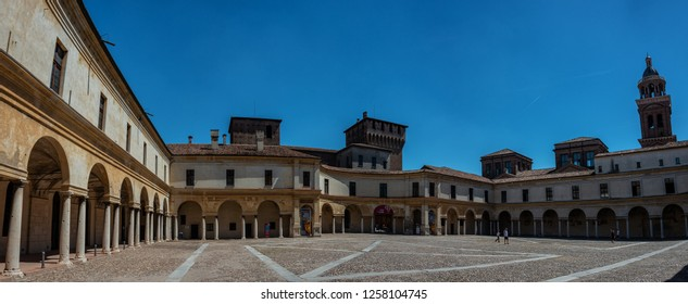 MANTOVA/ LOMBARDY/ ITALY AUG 2017 - Piazza Castello in Mantova architecture view, European capital of culture and UNESCO world heritage site