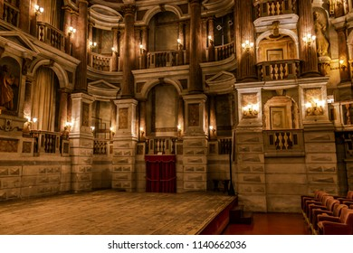 MANTOVA, LOMBARDY, ITALY - JULY 8, 2018: the Scientific Theater of Mantua, was realized by Antonio Bibbiena in 1767-69 and decorated, in 1773-75, with a facade by Piermarini realized by Paolo Pozzo.