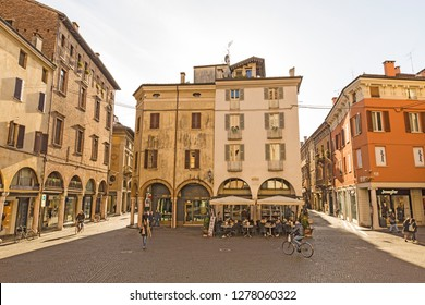 Mantova,Lombardy,Italy-2 March 2017:Adjacent to Piazza delle Erbe in beautiful city full of artistic masterpieces of Mantua lies the lovely little Piazza Mantegna.