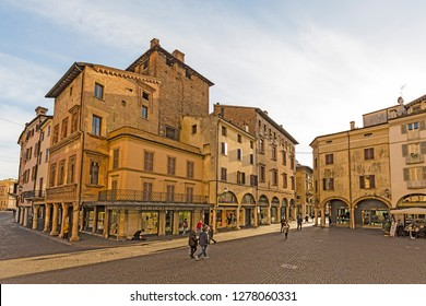 Mantova,Lombardy,Italy-2 March 2017:Adjacent to Piazza delle Erbe in beautiful city full of artistic masterpieces of Mantua lies the lovely little Piazza Mantegna,