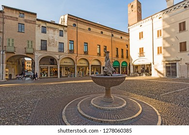 Mantova,Lombardy,Italy-2 March 2017:Piazza Broletto is one of the main squares of Mantua, located in the historical centre, between Piazza Sordello and Piazza delle Erbe.