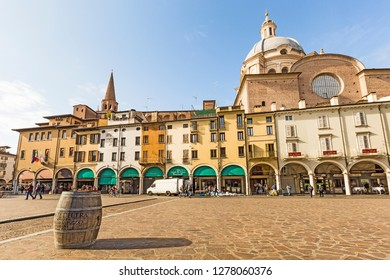 Mantova,Lombardy,Italy-2 March 2017:Piazza delle Erbe (or simply piazza Erbe) is one of the main squares of Mantua.Under the Colonnade there are many shops and a few bars and restaurants