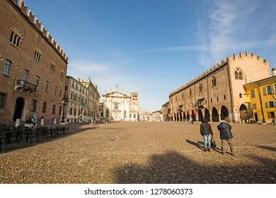 Mantova,Lombardy,Italy-2 March 2017:Piazza Sordello is a large square located in Mantua and dedicated to the 13th-century poet Sordello of Mantua