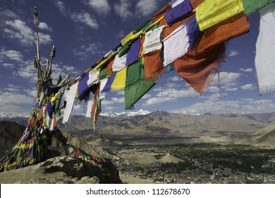 Mantra flags, Leh Palace, Leh City, and mountain range, North In