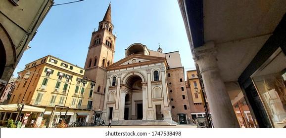 Mantua, 2 June 2020: facade of the Basilica of Sant'Andrea by the great Renaissance architect Leon Battista Alberti.