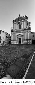 Mantua, church of San Barnaba, burial place of the Renaissance architect Giulio Romano; black and white image. - Shutterstock ID 1602853426