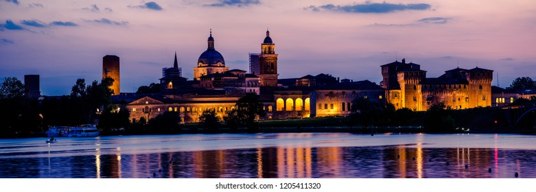 Mantua city skyline panorama at sunset