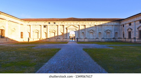 MANTUA, ITALY 24.02.2019. palazzo te in Mantua is a famous place, museum, and tourist attraction. the palace was built for Gonzaga family, One of the city important historical architecture
