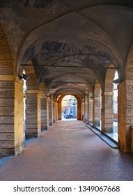 MANTUA - ITALY 29.02.2019. Inside The Pescherie di Giulio Romano (or Loggia di Giulio Romano) is a historical old fishmarket building in center of Mantua (Mantova)