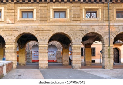 MANTUA - ITALY 29.02.2019. The Pescherie di Giulio Romano (or Loggia di Giulio Romano) is a historical old fishmarket building in center of Mantua (Mantova)