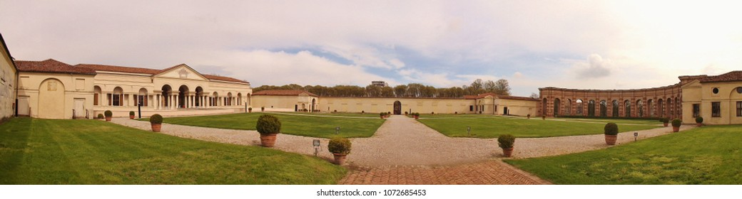 Mantua, Italy - April 10, 2018:  Panorama picture of Palazzo del Te. Built in 1524 for Federico II Gonzaga. Architect: Giulio Romano. Mantua, Lombardy, Northern Italy, South