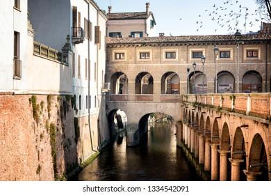 MANTUA - ITALY - FEBRUARY 18, 2019: The Pescherie di Giulio Romano (or Loggia di Giulio Romano) is a historic building in Mantua (Mantova). Italy
