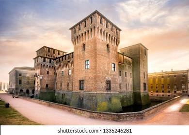 MANTUA - ITALY - FEBRUARY 18, 2019: Medieval fortress, Gonzaga Saint George (Giorgio) castle in Italy, Mantua (Mantova)