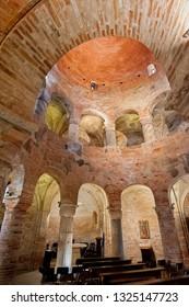 Mantua, Italy - January 4 2019: Interior of the round church of San Lorenzo