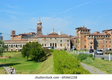 MANTUA, ITALY - JULY 19, 2017: cars on provincial road to the medieval city of Mantua (Mantova), Italy