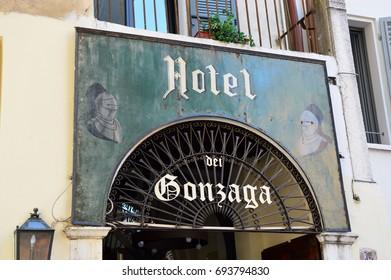 MANTUA, ITALY - JULY 19, 2017: signboard of Hotel dei Gonzaga in old town of Mantua, Italy