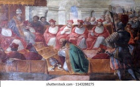 MANTUA, ITALY - JUNE 04: The Council of Mantua of 1067, fresco in Mantua Cathedral dedicated to Saint Peter, Mantua, Italy on June 04, 2017.