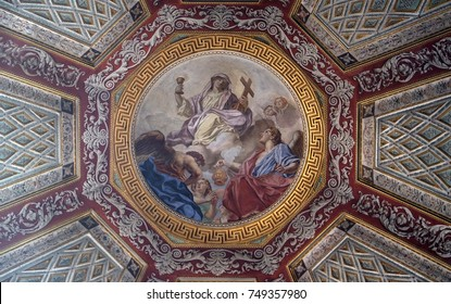 MANTUA, ITALY - JUNE 04: Fresco painting on the ceiling of the Cupola of the Cappella del Santissimo Sacramento in Mantua Cathedral dedicated to Saint Peter, Mantua, Italy on June 04, 2017.