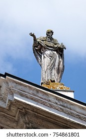 MANTUA, ITALY - JUNE 04: Saint Paul the Apostle, statue on facade of the Mantua Cathedral dedicated to Saint Peter, Mantua, Italy on June 04, 2017.