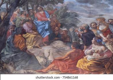 MANTUA, ITALY - JUNE 04: Sermon on the Mount, fresco in the basilica of Saint Andrew in Mantua, Italy on June 04, 2017.