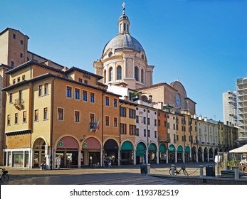 MANTUA, ITALY – JUNE 19, 2018: old city details with Saint Andrea Basilica in the bottom. View from Broletto street.