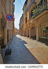MANTUA, ITALY – JUNE 19, 2018: locals in Corso Umberto 1 medieval street. One of the city typical street.