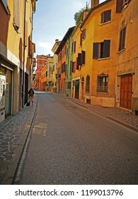 MANTUA, ITALY – JUNE 19, 2018: Giovanni Arrivabene street. Part of the medieval side of the city.