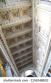 Mantua, Italy - March 11 2010: Coffered ceiling in the Cathedral
