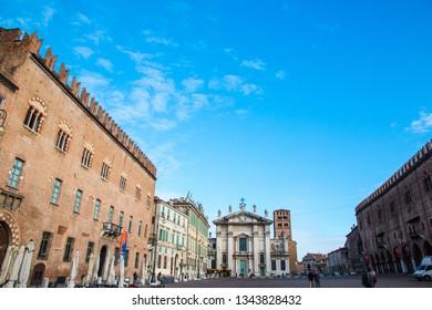 MANTUA, ITALY, MAY 16, 2015: View of Piazza Sordello in Mantua (Mantova), north Italy