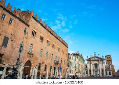 MANTUA, ITALY, MAY 18, 2016: View of Piazza Sordello in Mantua (Mantova), north Italy